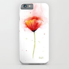 Red Poppy Flower Watercolor Abstract Poppies Floral Slim Case iPhone 6s