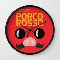 hayao miyazaki Wall Clocks featuring Porco Rosso - Miyazaki - Alternative Cartoon Poster by Stefanoreves