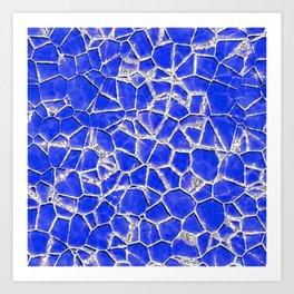 Blue broken glass texture Art Print