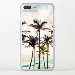 No Palm Trees Clear iPhone Case