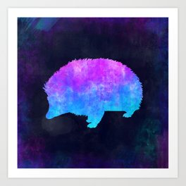 PORCUPINE IN SPACE // Animal Graphic Art // Watercolor Canvas Painting // Modern Minimal Cute Art Print
