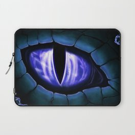 Blue Dragon Eye Fantasy Painting Colorful Digital Illustration Laptop Sleeve