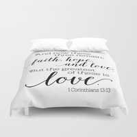 scripture Duvet Covers featuring The greatest of these is love by Noonday Design