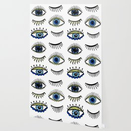 Evil Eyes Blue Yellow Lucky Charm Symbol Wallpaper