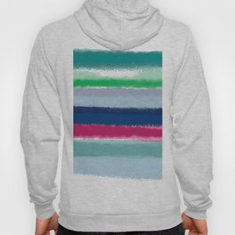 Bluish Blues 2 - Blues, Aqua, Greens, and Pinks, Stripes on White Hoody