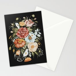 Roses and Poppies Bouquet on Charcoal Black Stationery Cards