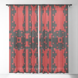 REBEL black and red bold pattern design Sheer Curtain
