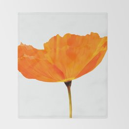 One And Only - Orange Poppy White Background #decor #society6#buyart Throw Blanket