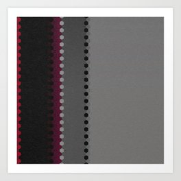 Modern Burgundy Grey Black Stripe Dot Pattern Art Print