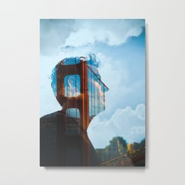 Golden Gate Bridge Double Exposure Metal Print