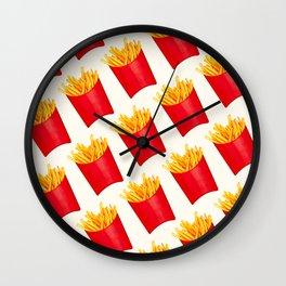 Fries Pattern - White Wall Clock