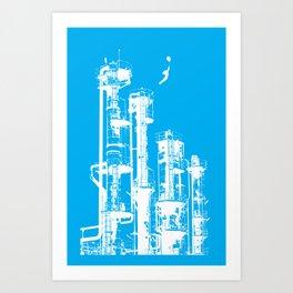 Factory Jump (white) Art Print