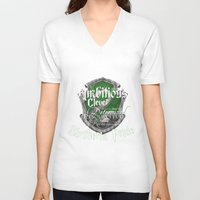 slytherin V-neck T-shirts featuring Slytherin Pride by iiNTRIGUE
