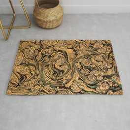 Abstract golden fluid digital oil painting  luxury design for home decoration Rug