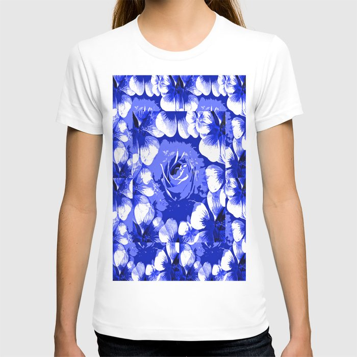Roses Blue and White Toile #2 T-shirt