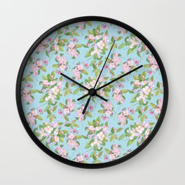 Pink Apple Blossom on Sky Blue Leafy Background Wall Clock