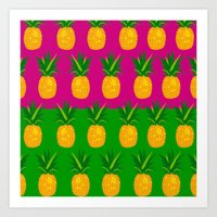pineapples Art Prints featuring Pineapples by The Wallpaper Files