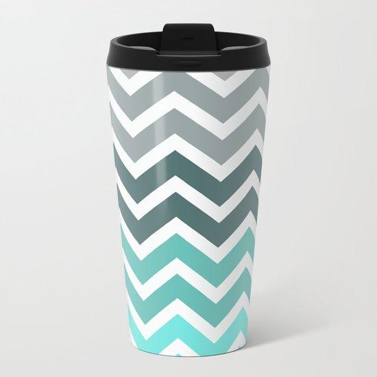 Tiffany Fade Chevron Pattern Metal Travel Mug
