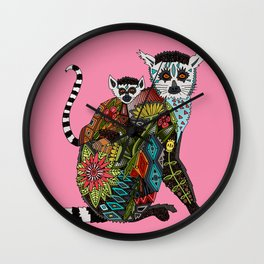ring tailed lemur love pink Wall Clock
