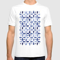 Imperfect Geometry Blue Petal Grid  SMALL Mens Fitted Tee White