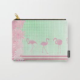 Baby Pink And Mint Green Flamingo Carry-All Pouch