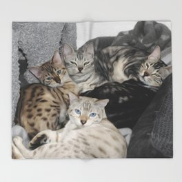 Bengal Cat Kitty Pile  Throw Blanket