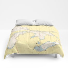 Vintage Map of The Great Lakes (1966) Comforters