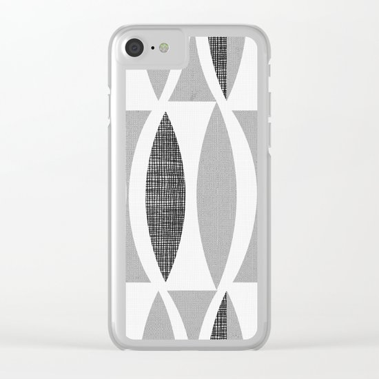 Seventies Black and White Clear iPhone Case