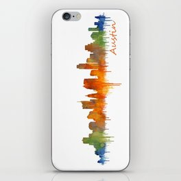 Austin Texas, City Skyline, watercolor  Cityscape Hq v2 iPhone Skin