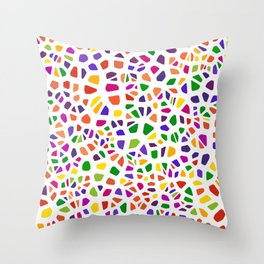 Stained glass colorful voronoi with fillet, vector abstract. Irregular cells background pattern. 2D Throw Pillow