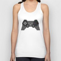 video game Tank Tops featuring Pixelized Video Game Controller by Merr Peng