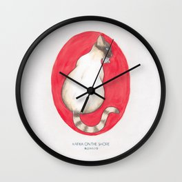 Haruki Murakami's Kafka on the Shore // Illustration of a Siamese Cat with a Fish in her Mouth in Pe Wall Clock