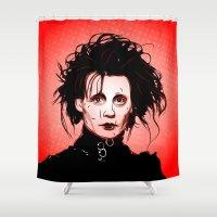 edward scissorhands Shower Curtains featuring Edward Scissorhands - Pop Art by William Cuccio aka WCSmack
