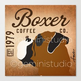 Boxer coffee company dog artwork by Stephen Fowler Canvas Print