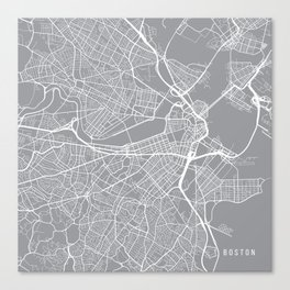 Boston Map, Massachusetts USA - Pewter Canvas Print