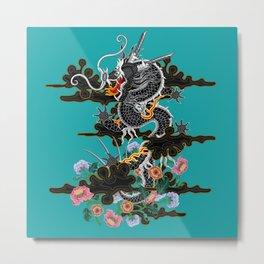 Dragon in Clouds with Peonies Motif Metal Print