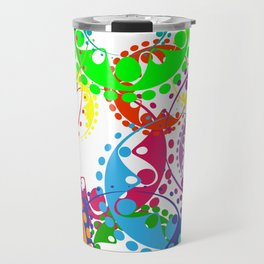 Texture of bright colorful gears and laurel wreaths in kaleidoscopic style. Travel Mug