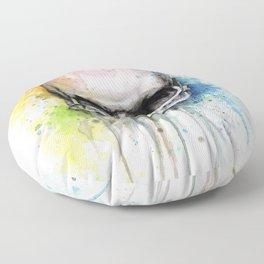 Skull Rainbow Watercolor Floor Pillow