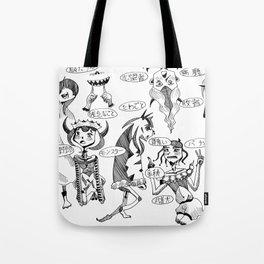 Demons cursing in Japanese Tote Bag