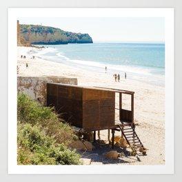 Cabane de plage, sea, Portugal, Europe Art Print