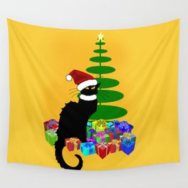 Christmas Le Chat Noir With Santa Hat Wall Tapestry