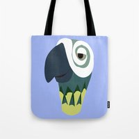 parrot Tote Bags featuring Parrot  by Jessica Slater Design & Illustration
