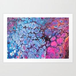 Abstract Macro of Acrylic Pour 3931 Art Print