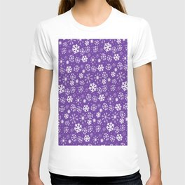 Snowflake Snowstorm With Purple Background T-shirt