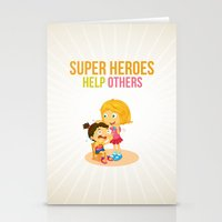 super heroes Stationery Cards featuring Super Heroes Help Others by youngmindz
