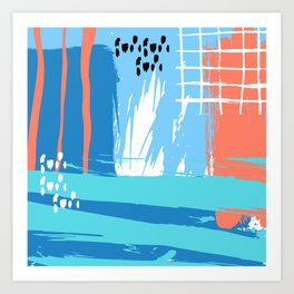 Abstract Blue Grunge Art Print