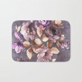Vintage Mauve Wall Flowers Bath Mat