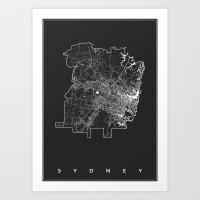 sydney Art Prints featuring SYDNEY by Nicksman