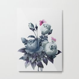 Roses and Butterflies Metal Print