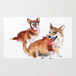 watercolor dog vol 13 corgi Rug